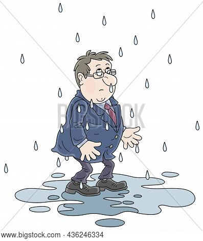 Unlucky, Sad And Wet Man Without An Umbrella Standing In A Puddle On A Rainy Day For Failure, Vector