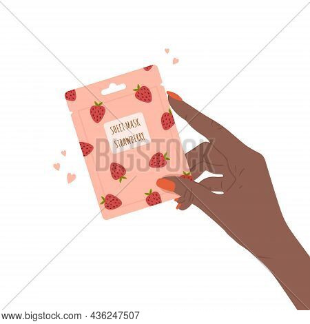 Skin Care Concept. Female Hand Holds Sheet Facial Mask. Morning Routine. Face Moisturizer. Hand Draw
