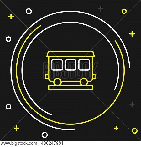 Line Passenger Train Cars Icon Isolated On Black Background. Railway Carriage. Colorful Outline Conc