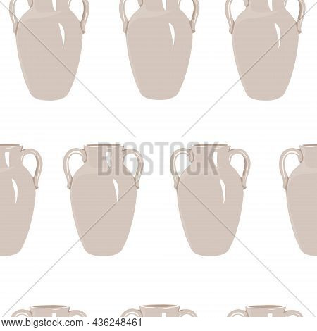 Ceramic Vase Vector Stock Illustration. Greek Ancient Jug.    Seamless Pattern. For Wrapping Paper.