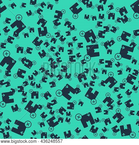 Black Carton Cardboard Box Icon Isolated Seamless Pattern On Green Background. Box, Package, Parcel