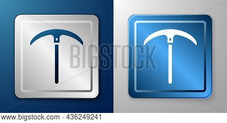 White Pickaxe Icon Isolated On Blue And Grey Background. Silver And Blue Square Button. Vector