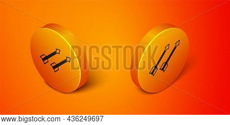 Isometric Medieval Arrows Icon Isolated On Orange Background. Medieval Weapon. Orange Circle Button.