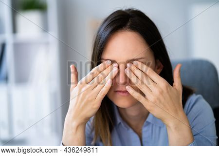 Eye Pain And Inflammation. Girl With Retina Fatigue And Spasm