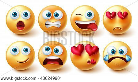 Emojis Character Vector Set. Emoji In Yellow Face With Funny And In Love Faces Collection For Emotic