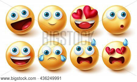 Emoji Characters Vector Set. Emojis Character Cute Faces Collection In Yellow Icon Isolated In White