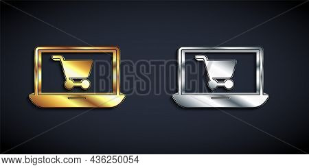 Gold And Silver Shopping Cart On Screen Laptop Icon Isolated On Black Background. Concept E-commerce