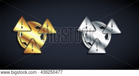 Gold And Silver Planet Earth Symbol With Exclamation Mark Icon Isolated On Black Background. Global