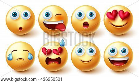 Emoji Characters Vector Set. Emoticon Emojis 3d Collection In Cute Facial Expressions Isolated In Wh