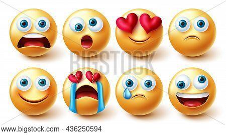 Emoji Emoticons Vector Set. 3d Emoticon In Shocked, Funny And Sad Broken Hearted Graphic 3d Design F