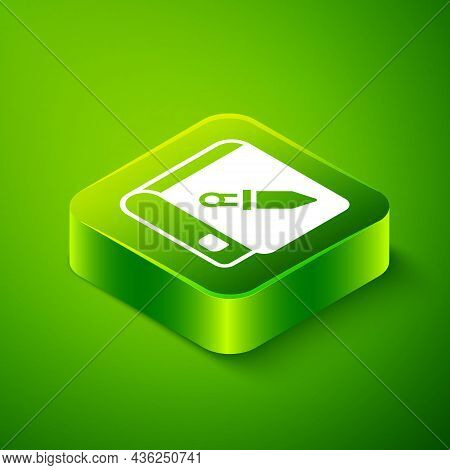 Isometric Book About Weapon Icon Isolated On Green Background. Small Firearm. Weapon Catalog. Green