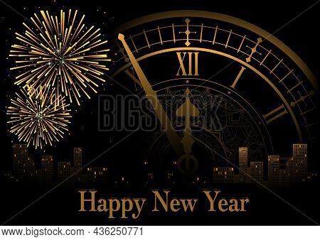 Happy New Year Greeting With Clock And Fireworks Over Nigh Skyline In Golden Tones - Festive Backgro