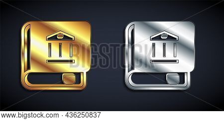 Gold And Silver Law Book Icon Isolated On Black Background. Legal Judge Book. Judgment Concept. Long