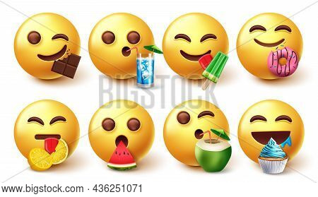 Emoji Eating Characters Vector Set. Emojis 3d Eating And Drinking Foods Like Fruits And Dessert Isol