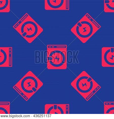 Red Washer Icon Isolated Seamless Pattern On Blue Background. Washing Machine Icon. Clothes Washer -