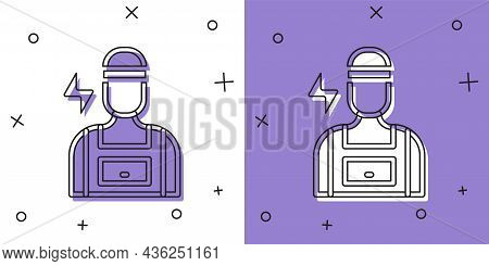 Set Electrician Technician Engineer Icon Isolated On White And Purple Background. Vector