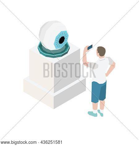 Art Exhibition Visitor Taking Photo Of Big Human Eye Sculpture Isometric Vector Illustration