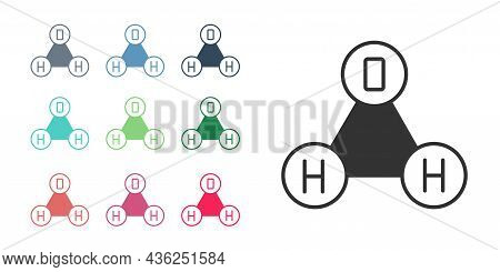 Black Chemical Formula For Water Drops H2o Shaped Icon Isolated On White Background. Set Icons Color