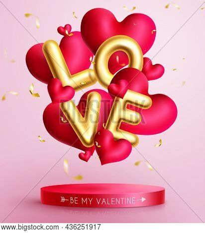 Valentines Love Balloon Vector Design. Love Text In Gold Balloon Decor With Floating Hearts And Conf