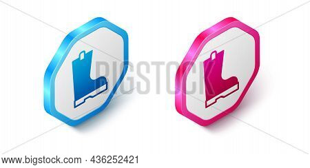 Isometric Waterproof Rubber Boot Icon Isolated On White Background. Gumboots For Rainy Weather, Fish