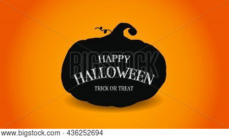 Hand Drawn Vector Of Horror Silhouette Halloween Pumpkins Faces Sticker. Autumn Holidays. Creepy And