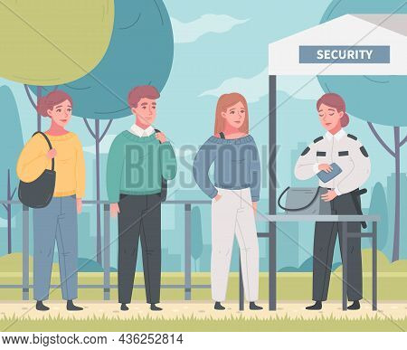 Security Guard Agency Service Cartoon Composition With Outdoor Cityscape With People And Guard Perfo