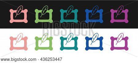 Set Rectangular Pillow Icon Isolated On Black And White Background. Cushion Sign. Orthopedic Pillow.