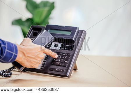 Communication Support, Call Center And Customer Service Help Desk. Telephone Devices With Voip Heads