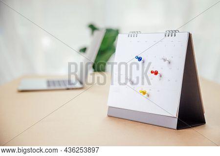 Calendar Desk Place On The Table. Desktop Calender For Planner To Plan Agenda, Timetable, Appointmen