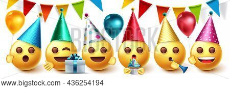 Emoji Birthday Party Vector Design Set. Emojis Collection In Party Celebration With Pennants, Balloo