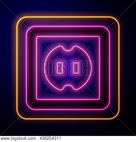 Glowing Neon Electrical Outlet Icon Isolated On Black Background. Power Socket. Rosette Symbol. Vect