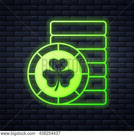 Glowing Neon Golden Leprechaun Coin With Clover Trefoil Leaf Icon Isolated On Brick Wall Background.