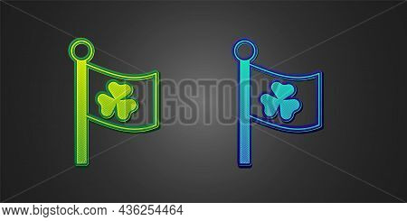 Green And Blue National Ireland Flag With Clover Trefoil Leaf Icon Isolated On Black Background. Hap
