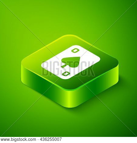 Isometric Playing Cards Icon Isolated On Green Background. Casino Gambling. Green Square Button. Vec
