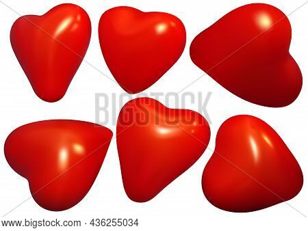 Set Of Red Heart - Detailed Illustrations With Three-dimensional Effect For Your Graphic Design Isol