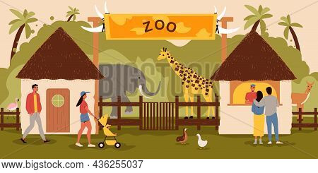 Zoo Entrance Background With Tickets Animals And Visitors Flat Vector Illustration