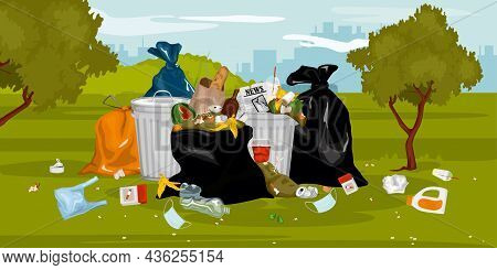 Trash Garbage In Park Composition Of Outdoor Scenery With Cityscape And Pile Of Waste Among Trees Ve
