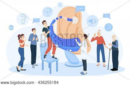 Hearing Hygiene Deaf Problems Flat Composition With Characters Of Deaf Persons And Doctor With Aid D