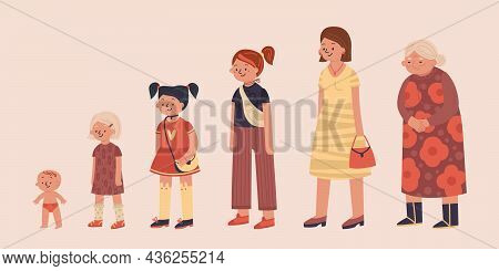 Generation Women Composition With Set Of Isolated Female Characters Of Baby Teenage Girls Mature And