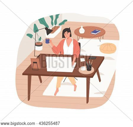 Remote Work From Cozy Home Office. Woman Working Online At Modern Workplace With Desk And Laptop. Fr