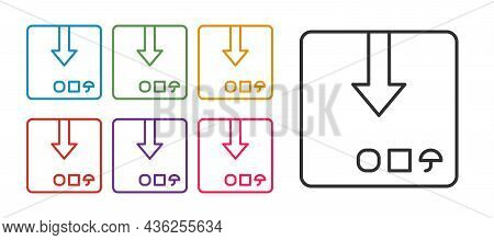 Set Line Carton Cardboard Box Icon Isolated On White Background. Box, Package, Parcel Sign. Delivery