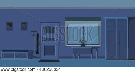 Hallway Door. Cozy Room In A Residential Building At Night. Wall And Window. Furniture In The Interi