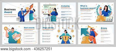 Business Award Concept For Presentation Slide Template. Businessmen And Businesswomen Celebrating Su