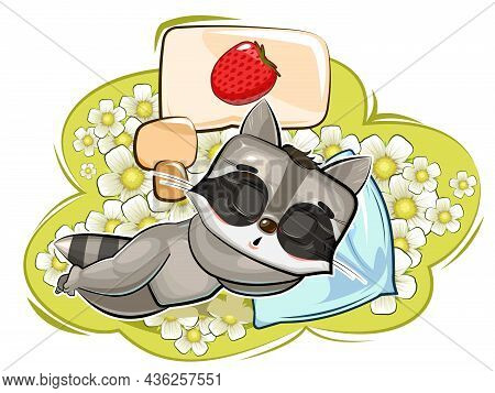 Baby Raccoon. Meadow And Ripe Strawberry Are Dreaming. Childrens Illustration. Chamomile. The Baby A