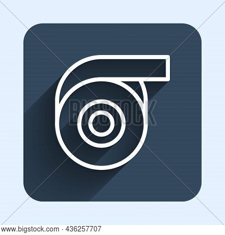 White Line Scotch Tape Icon Isolated With Long Shadow Background. Roll Adhesive Tape. Insulating Tap