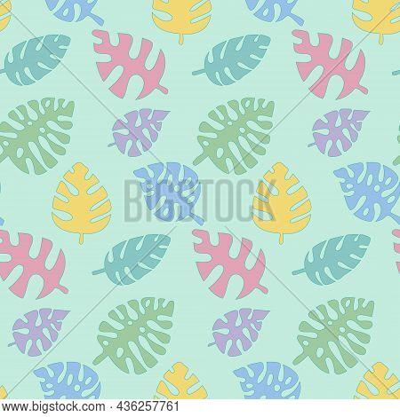 Monstera Seamless Pattern, Childish Tropical Leaf Pink Green Blue, Vector Illustration