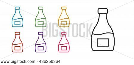 Set Line Sauce Bottle Icon Isolated On White Background. Ketchup, Mustard And Mayonnaise Bottles Wit