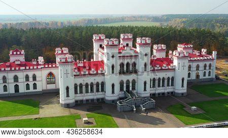 Kosava, Belarus. Aerial Birds-eye View Of Famous Popular Historic Landmark Kosava Castle. Puslowski
