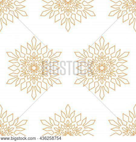 Bright Seamless Pattern Snowflake Mandala, Geometric Snowflake Simple Design, Vector
