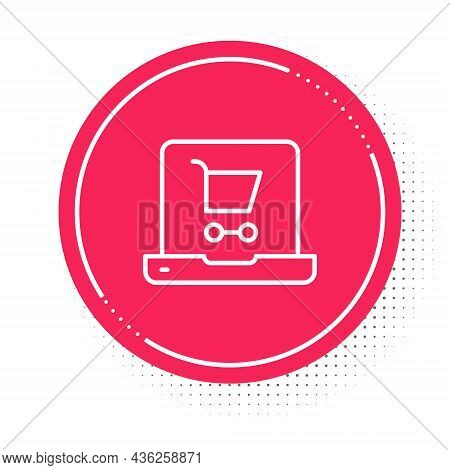 White Line Shopping Cart On Screen Laptop Icon Isolated On White Background. Concept E-commerce, E-b